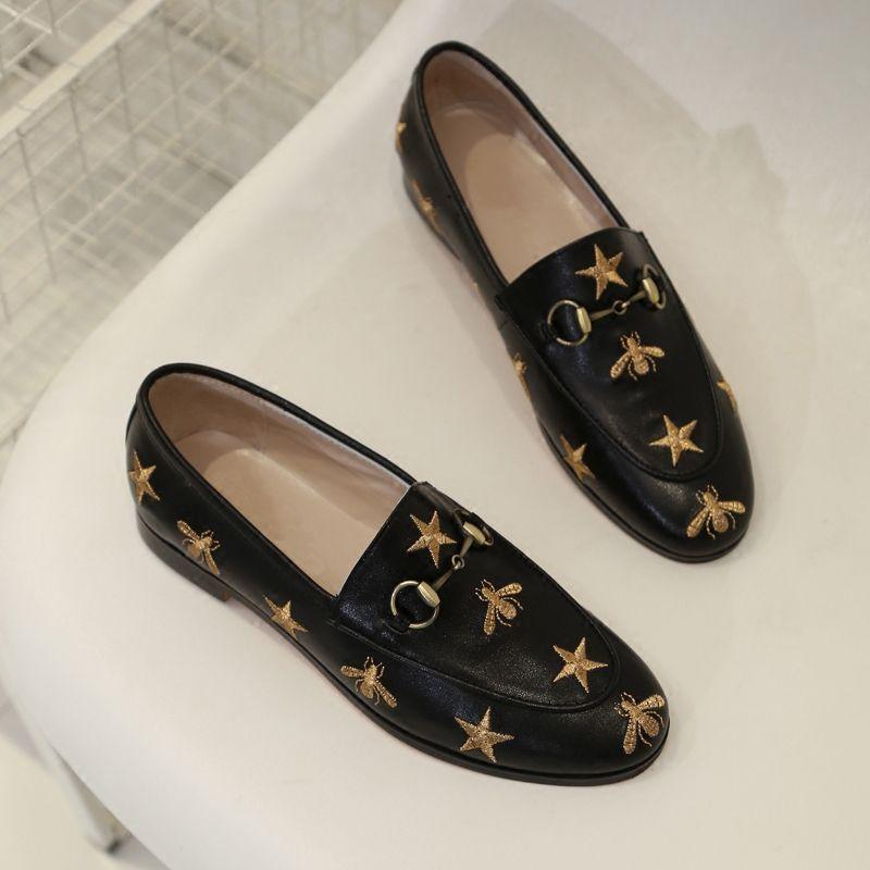 Mocassins de morsure d'abeille Little Bee mocassins pour femmes talon plat en cuir véritable marque concepteur de la conduite des femmes Casual chaussures avec boîte d'origine