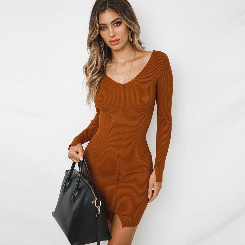 899a99b15c7 2019 2018111911 Vestidos 2018 Fashion Deep V Neck Backless Knit Sweater  Dress Women Elegant Elastic Office Dresses Plit Warm Dress From  Lovelyjewelryhouse