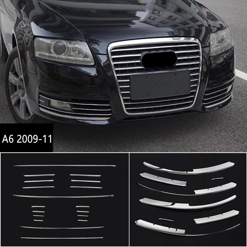 Stainless Steel Front Bumper Grille Decoration Cover Trim For For Audi A6  2009-11 Car Front Fog Lamp Strips
