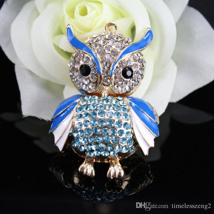 Bellissimo portachiavi design gufo con portachiavi in cristallo luminoso catena portachiavi in metallo colore regalo i