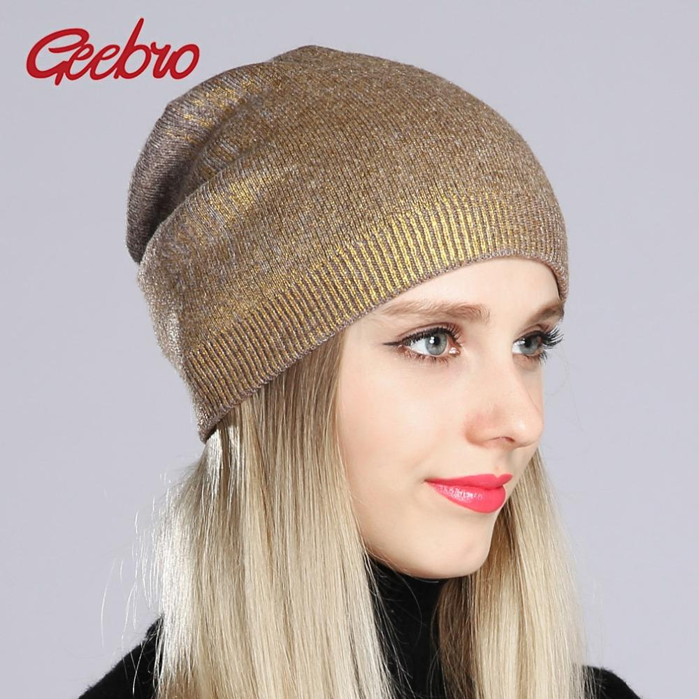 Geebro Women S Bronzing Beanies Hat 2018 Spring Cashmere Knitted Beanie For Women  Ladies Hot Silver Slouchy Beanie Cap DQ181B Stocking Cap Baby Sun Hat From  ... e858b5e51f
