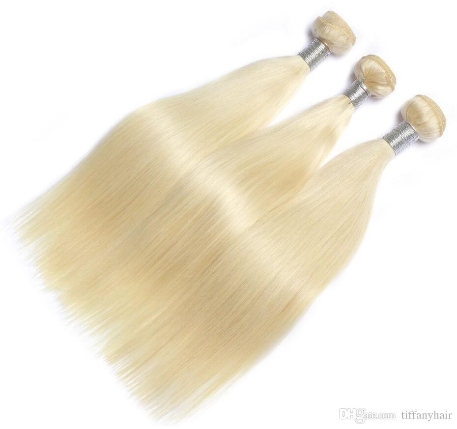 Saç demetleri örgü 613 Sarışın renk Brezilyalı Düz 3 paketler virgin İnsan saç demeti uzantıları işlenmemiş kalın yumuşak satıcı