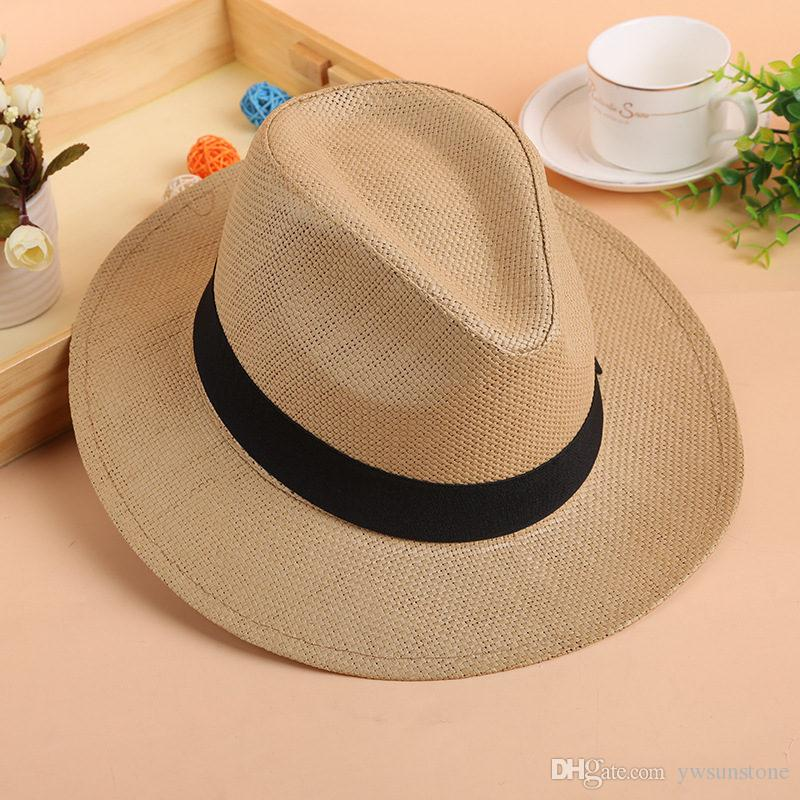 61f772a52ee 2019 2018 Summer Straw Jazz Hat With Bow Band Fashion Beach Panama Cap  Solid Women Men UV Protection Sun Hats From Ywsunstone