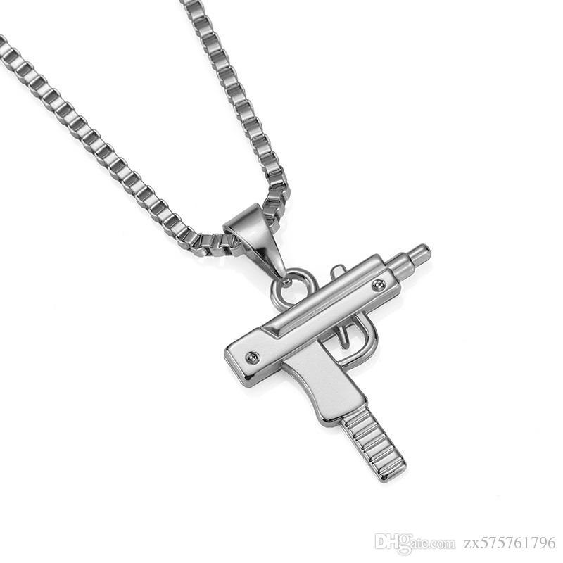 Men Charm Necklace Hip Hop Jewelry Pistol Pendant 18k Gold Plated 60cm Long Chains Design Punk Fashion Filling Pieces Men Gift