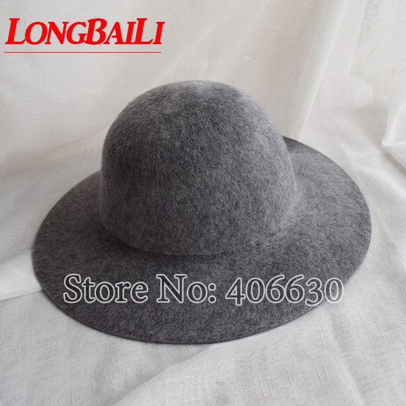 2019 Winter Elegant Women Plain Wool Felt Fedora Hats Wide Brim Round Top  Chapeu Feminino BMDW036 From Naughtie e92e6aa428a