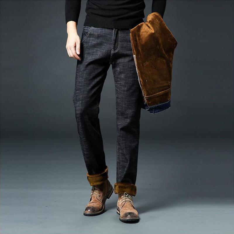 Compre Talla Grande 28 46 Moda Invierno Jeans Hombres Modernos Ciudad  Casual Grueso Pantalones Vaqueros Calientes Slim Fit Elástico Color Negro  Clásico ... 0549def1ad6