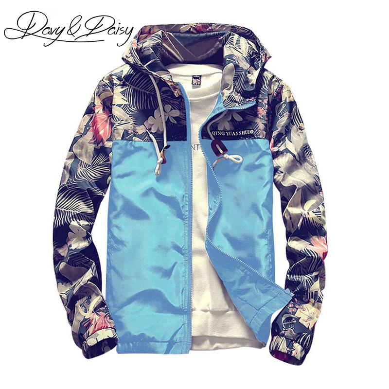 1cd71981d DAVYDAISY Mens Bomber Jacket Korean Style Slim Fit Floral Print Patchwork  Hooded Casual Hip Hop Coat Men Brand Clothing DCT 196 Leather Jacket Jackets  From ...