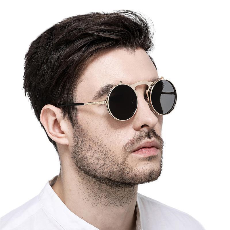 4f929228432 Colecao Retro Round Sunglasses Men 2018 New Men S Glasses Flip Cover  Designer Metal Mirror Lense Luxury Brand Sunglass Uv400 408 Bolle Sunglasses  Electric ...