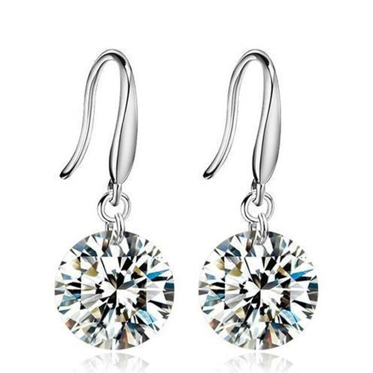 b0be8c4c68252 Diamond Hoop Earrings for Women Bridal Earrings Sterling Silver Earrings  The Latest Hot Sale Simple Zircon Fashion Jewelry