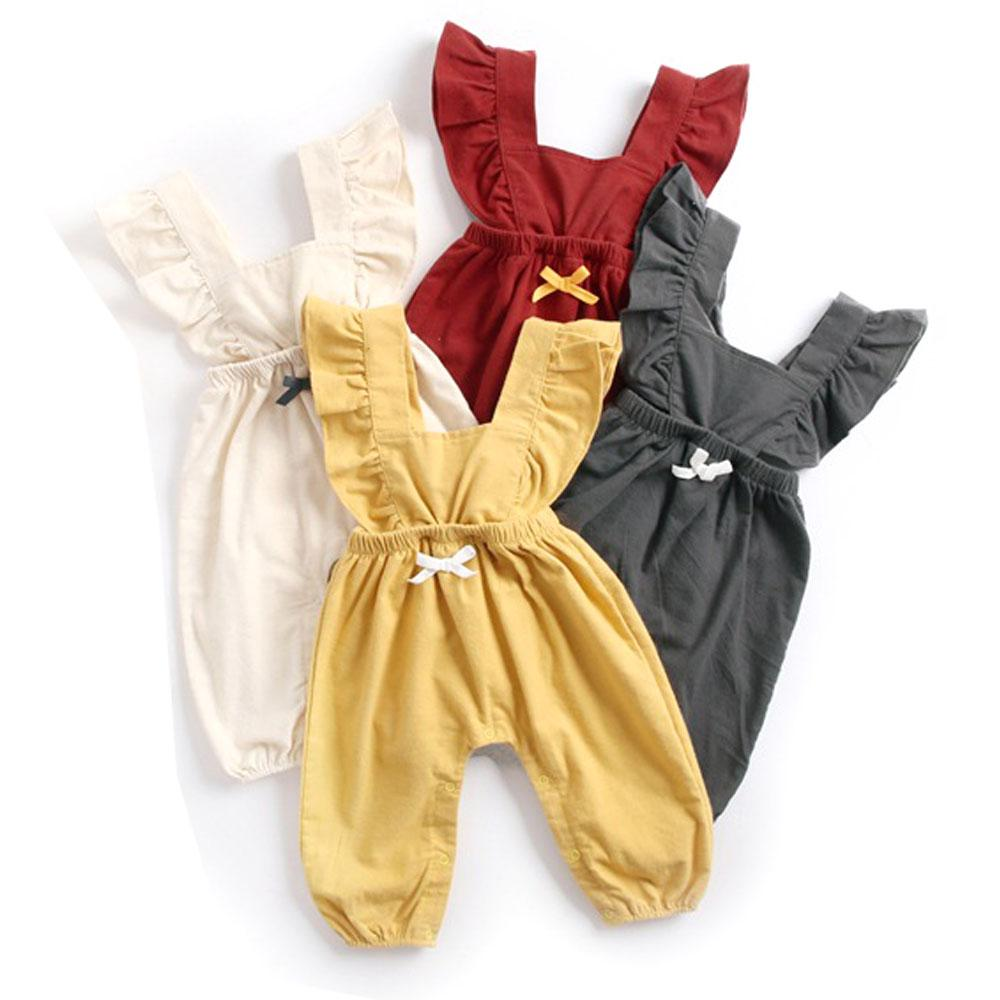 1748f2d512e7 2019 2018 Autumn Winter Baby Girls Overalls Ruffles Bowknot Cotton Outfits  Toddler Infant Baby Rompers Jumpsuits Baby Newborn Clothes From  Tobebetter2018