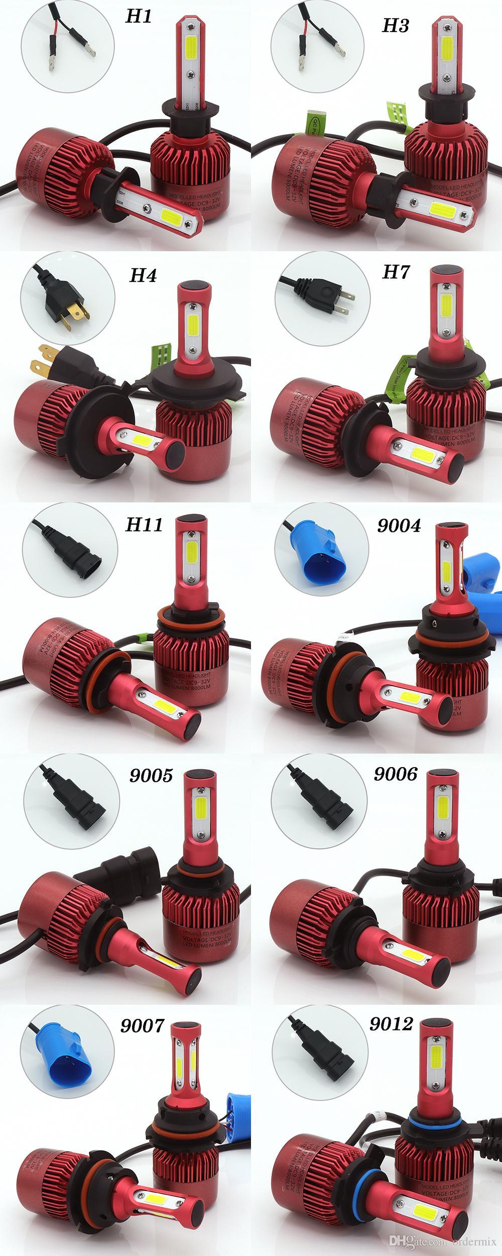Bombilla de faros delanteros LED para automóvil H4 Canbus H7 72W 8000LM H1 H3 HB3 9005 HB4 9006 9012 12V Kit de conversión de cabezal del automóvil H4 Hi-Lo Beam