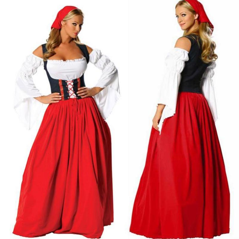 German Dress New Arrival Plus Size Long Red Women Waiter Oktoberfest
