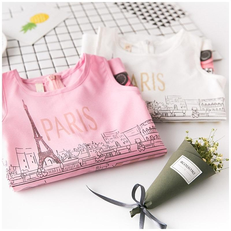Le ragazze di estate di marca vestono la moda Parigi Torre Eiffel stampa bambini vestiti ragazze vestiti senza maniche Princess Dress Girl SG122