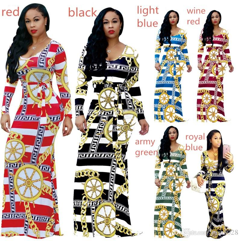 Sexy Women Maxi Boho Dress O Neck Print Long Sleeve Spring Dress Holiday Long Beach Dress Vestidos Party Floor-Length Dresses