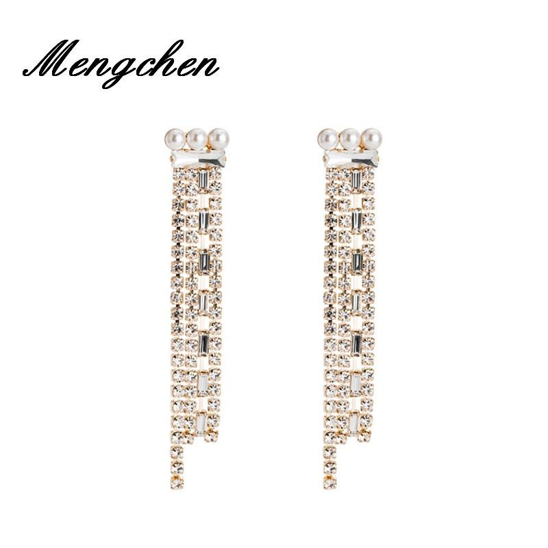 New Style White Rhinestone Chain Dangle Drop Earrings for Women Girls Fashion Jewelry Bohemian Wedding Party Girl Gifts Earring C18111901
