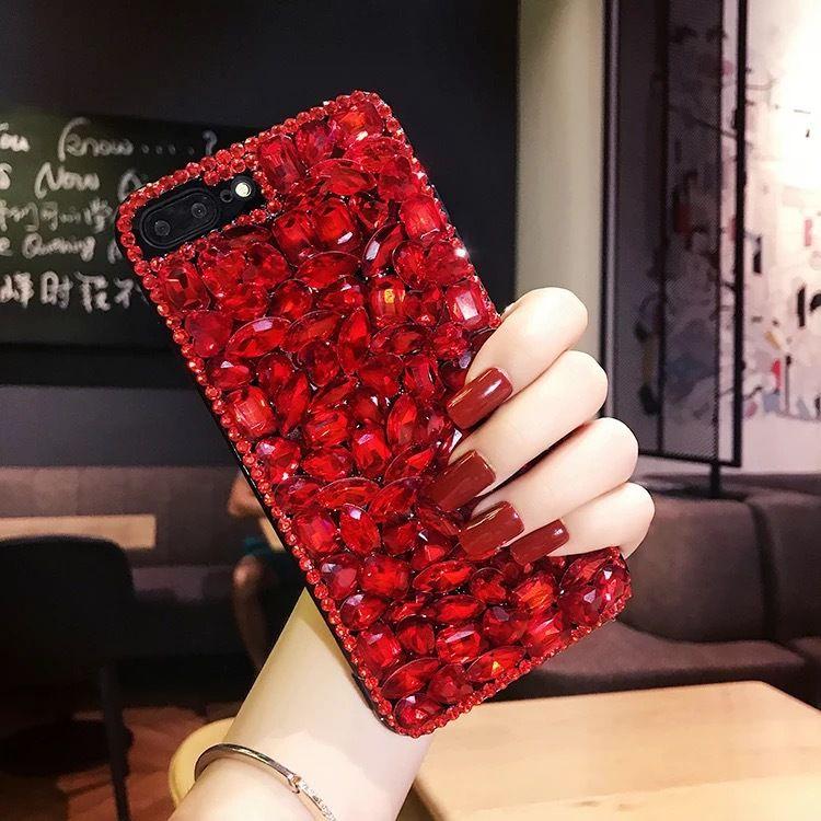 Luxury 3D Bling Rhinestone Diamond Glitter Shining Back Cover Crystal Girl Design Hard Back Phone Case for Apple iPhone 6 7 8 Plus
