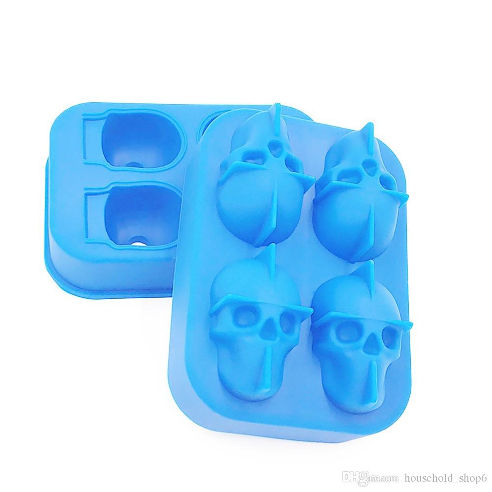 Silica Gel Ice Lattice Ice Block Mould Skull Ice Mold Human Skeleton Head Ice-making Box DIY For Personality Home Furnishing Bar