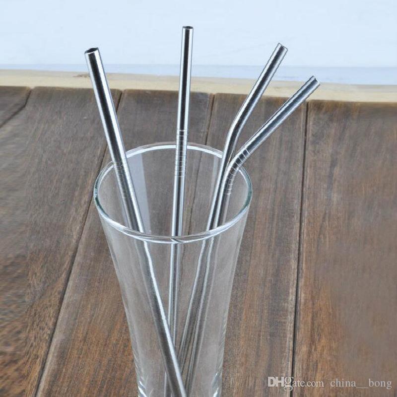 Canudos de Aço inoxidável 30/20 onça Escova De Limpeza reutilizável canudo canudo reta e dobrar beber palha de canudo de três tamanho 6mm de espessura