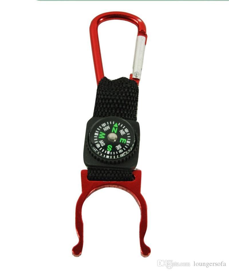 متعددة الوظائف keychian مع ميني البوصلة زجاجة مشبك تشبث حقيبة معدنية حلقة رئيسية للتخييم معدات تسلق قوي يسهل حملها 0 85bs zz