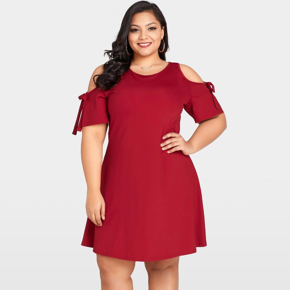 ea7dc2ce896380 2019 Cold Shoulder Dress Women Tie Short Sleeve Summer Dress Female O Neck  Keyhole Back Party Mini Dresses Wine Red Robe Femme Black Dresses For Women  ...
