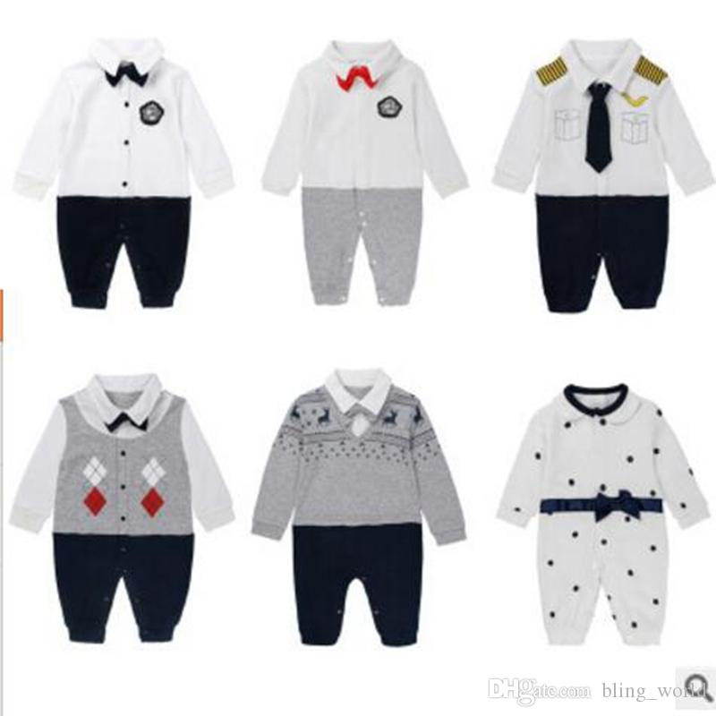 18a564cd55d5 Kids Autumn Clothing Baby Boy Gentleman Rompers Newborn Baby Long Sleeved  Jumpsuits Infant Designer Onesies Brand Toddler Clothes YL443 Kids Clothing  Baby ...