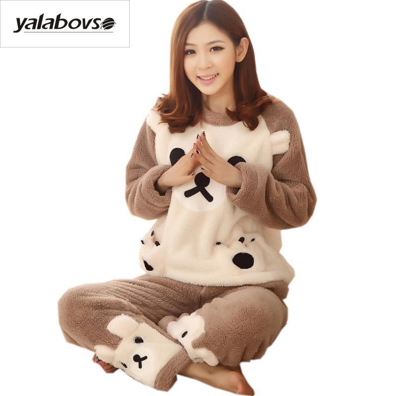 0443373ae946 2019 Yalabovso 2017 Cute Bear Pajamas Adults Warm Flannel Animal Pajama  Cartoon Unisex Pajamas For Women One Piece Set Z15 From Cute08