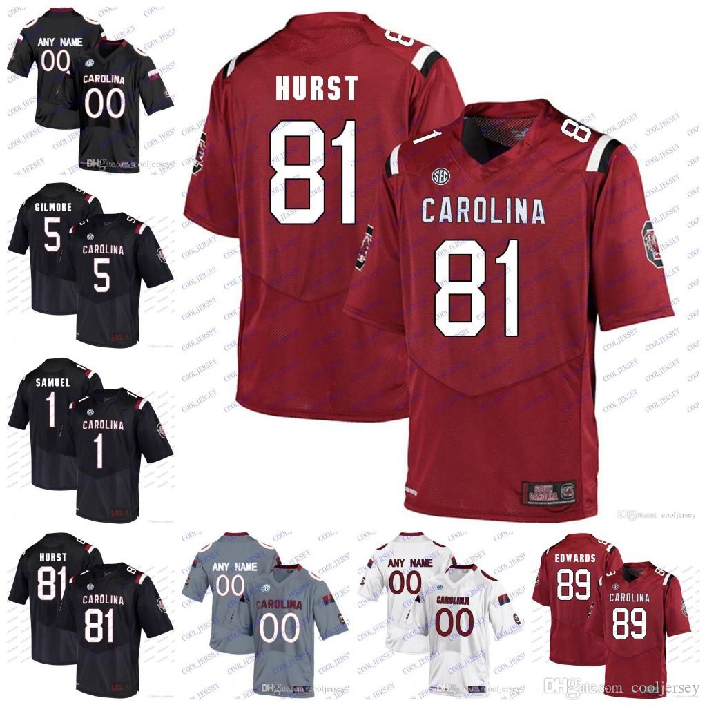 2019 Custom NCAA South Carolina Gamecocks College Football  81 Hayden Hurst  25 A.J. Turner 5 Rico Dowdle 89 Bryan Edwards Jersey Black Red White From  ... 45aedf977