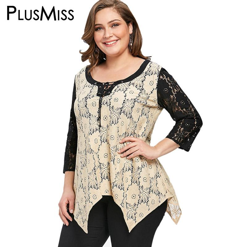 3703fefd7b3 2019 PlusMiss Plus Size 5XL Sexy Floral Lace Crochet Tunic Tops Women  Clothing Summer 2018 Loose Blouse Ladies Big Size Blusas Summer From  Tayler