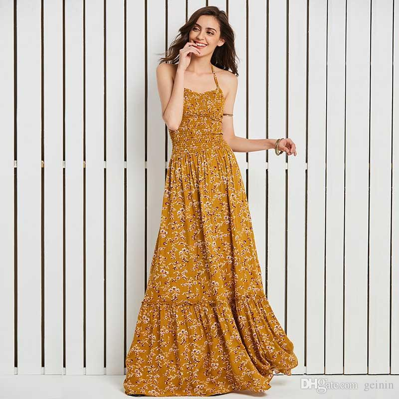 01f41b9dd7 2019 Woman Beach Long Dress 2018 Summer Yellow Floral Print Sleeveless  Halter Expansion Backless Lace Up Women S Holiday Maxi Dresses From Geinin