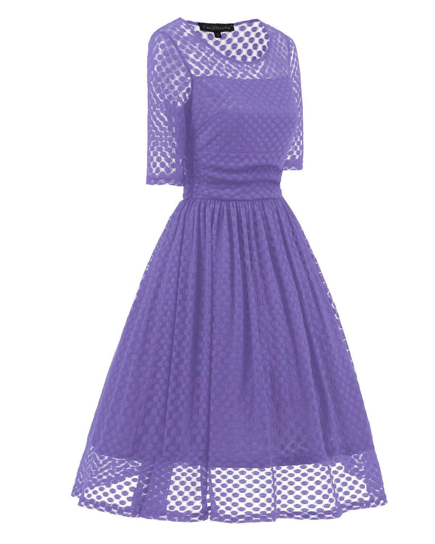 Bayan Bayanlar 1950'ler Vintage Stil Retro Akşam Parti Salıncak Örgü Dantel Elbise