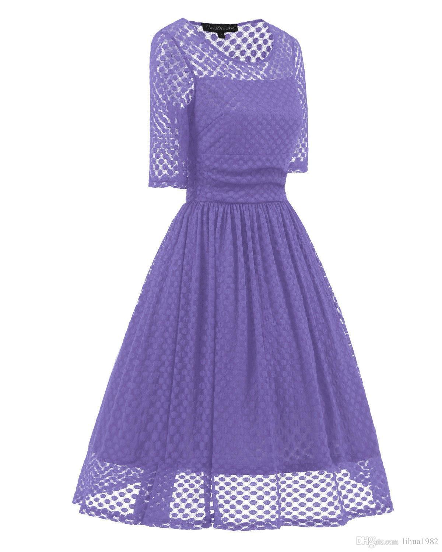 Womens Mesdames des années 1950 Vintage Style Retro Party Swing Mesh dentelle robe en dentelle