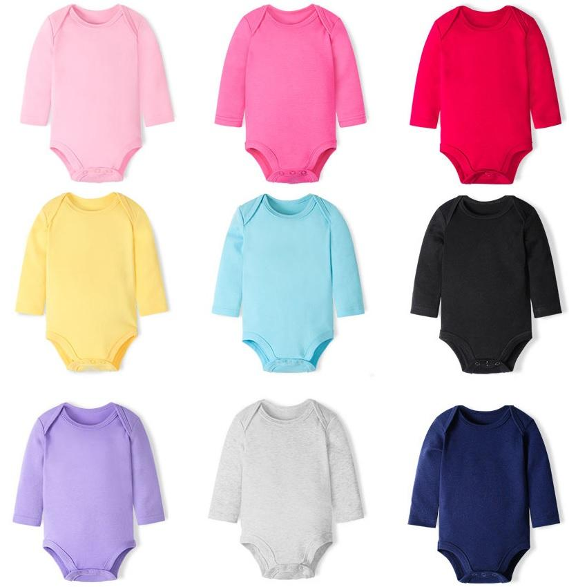 17c170dcd Compre Hooyi Roupas De Bebê Primavera Outono 100% Algodão Bodysuits  Prematuros Meninas Vestido Sólidos Meninos Macacões Camisa De Manga Longa  Inferior De ...