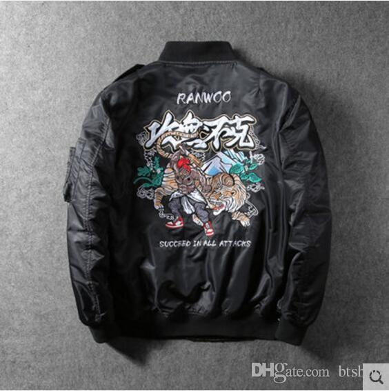 b24fe2008 2018 Chinese Style Men Embroidered Flight Jacket Gong Wu Bu Ke Succeed In  All Attacks Game Jacket Tiger Monkey Coat Hot Sale Jackets And Coats Mens  Jackets ...