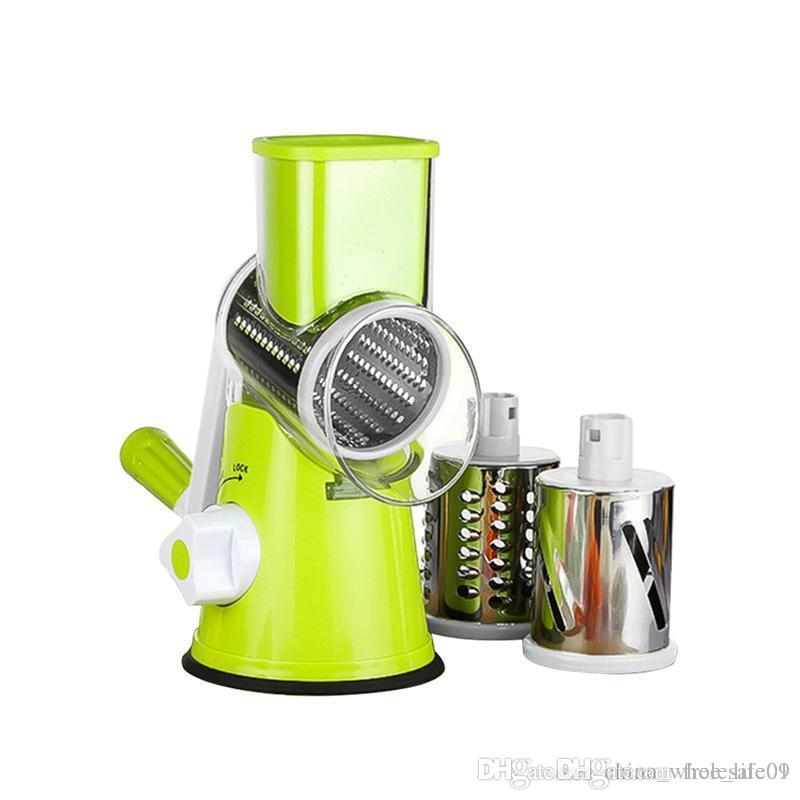 Vegetable Slicer Manual Hand Speedy Safe Vegetables Chopper With 3  Interchangeable Round Stainless Steel Rotary Blades Vegetable Slicer Vegetables  Chopper ...
