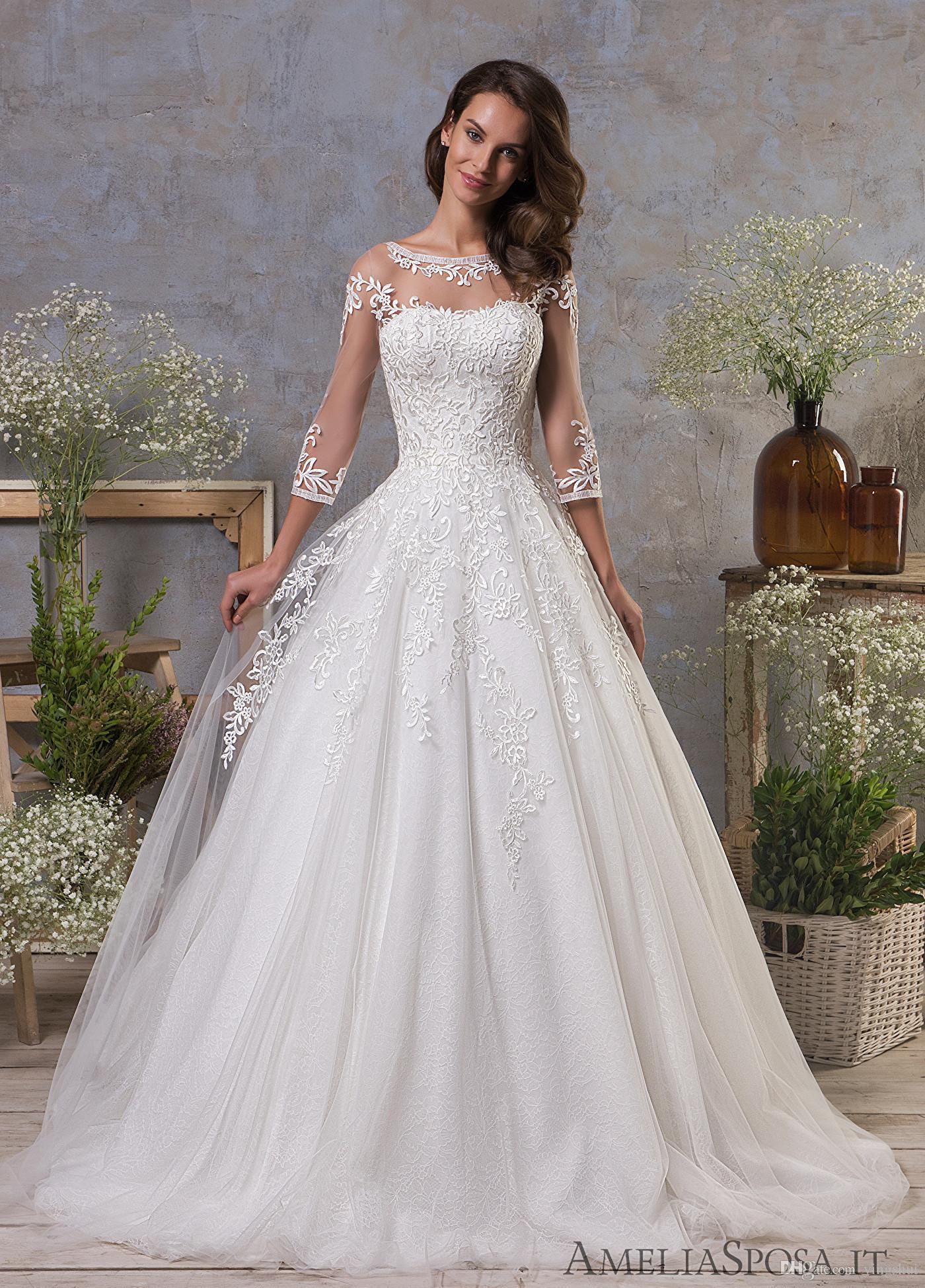 24b1fc5e242ac Discount Modest Three Quarter Sleeves Wedding Dresses A Line Open Back  Vestidos De Novia Lace Bridal Gown 2019 Beach Wedding Dresses Designer  Dresses From ...