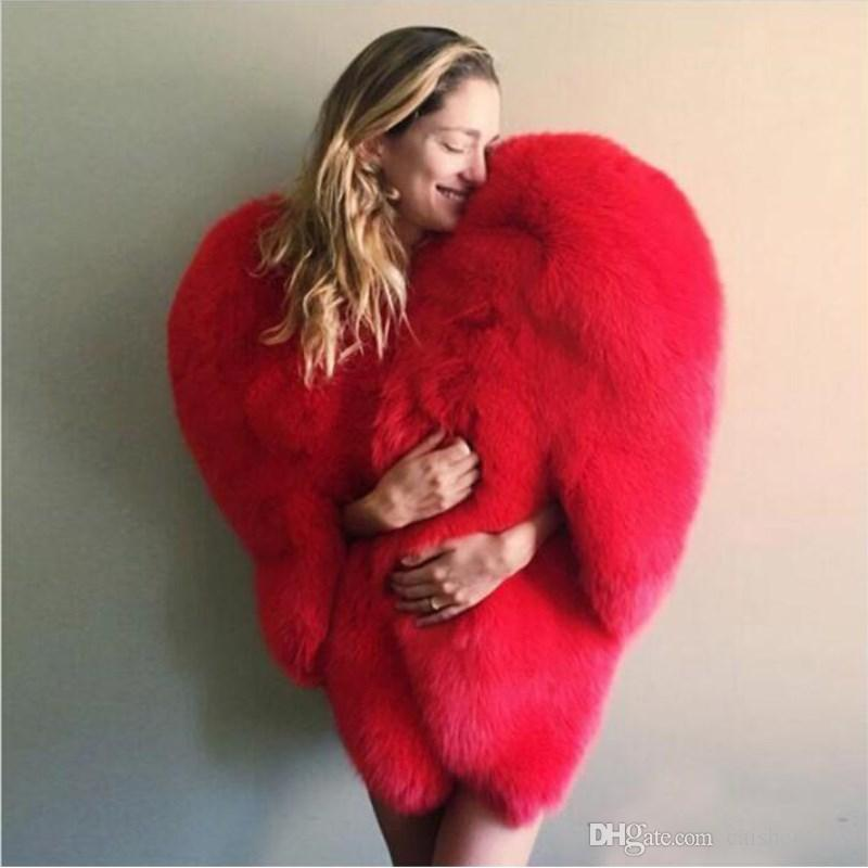 Women Imitation Fur Red Love 3D Heart Shaped Shawl Faux Fox Fur Warm Coat 2018 Autumn/winter Fashion Women Clothing High Quality