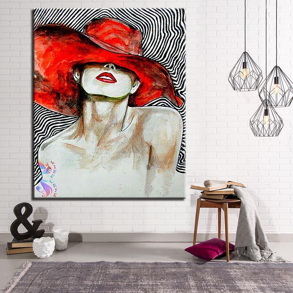 Malen Nach Zahlen Diy Digital Hand Farbe Ziemlich Red Hat Mädchen öl Bilder Leinwand Home Decor Färbung Frauen Zeichnung Wandkunst