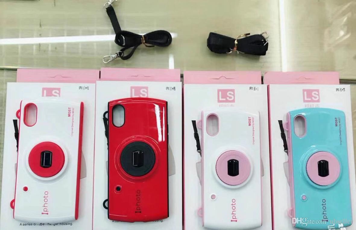 Cámara retro en 3D Cajas blandas de teléfono de TPU para Iphone x 8 7 6 s Plus Correa Lanyard PC Hard Back Cover con encaje colgante