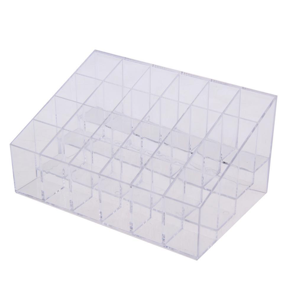 Hot Sale 24 Lattice Lipstick Acrylic Jewelry Makeup Organizer Box Case Mascara Cosmetic Holder Plastic Box Home Storage Tool