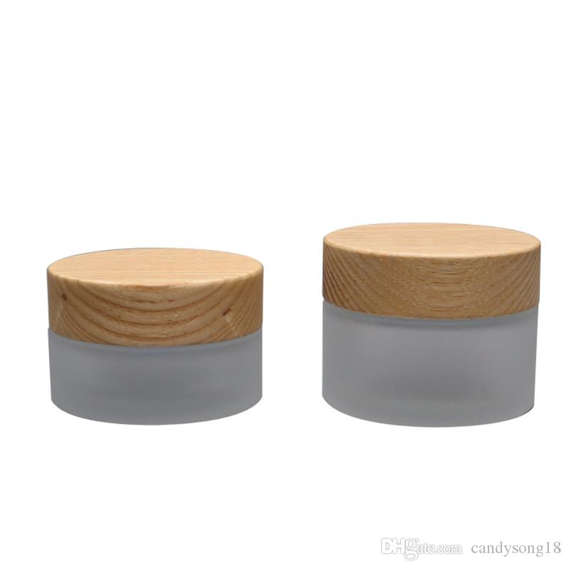50g Empty Frosted Glass Eye/Facial Cream Jar with Bamboo Wooden Screw Cap Cosmetic Packaging Bottle Makeup Container F328
