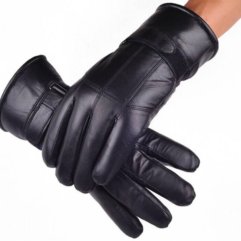 MS.MinShu Sheepskin Gloves Fashion Genuine Leather with inside Sheep hair Glove Luxury For Men Russian Winter Real Fur Gloves