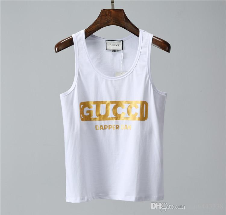 38a60b2b T Shirt Summer New Men Pullover Tshirt Casual Sleeveless Scoop Neck Cotton T  Shirt Men Brand Letter Printing Luxury #1268 Man Tops Tees T Shirts Print  Tees ...