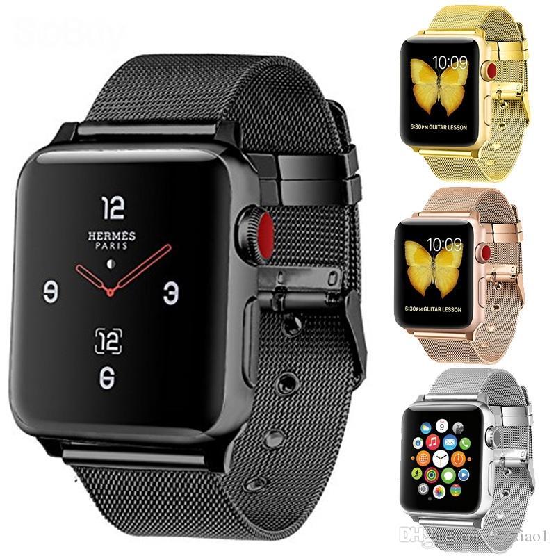 8bf26ee2aa7 Compre Loop Milanese Para Apple Watch Band Série 4 3 2 1 Cinta Para Iwatch  38mm 42mm 40 44 De Aço Inoxidável Fivela Ajustável Magnética Com  Adaptadores De ...