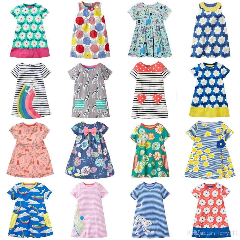 510fd89df الفتيات فساتين 22 تصاميم 2-7 سنة طفلة فساتين الاطفال القطن الصيف فساتين  طفلة ملابس الاطفال ملابس LA744