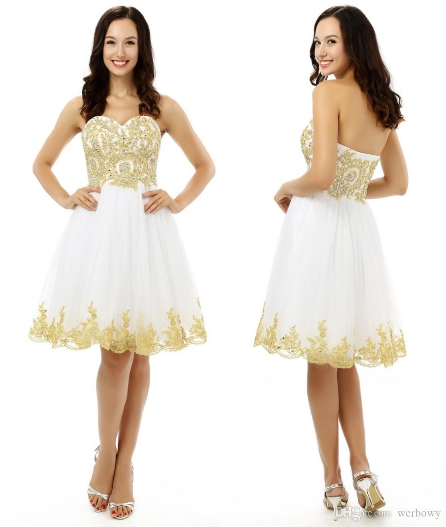 f6f572aef2 Compre Los Mejores Vestidos Blancos Del Baile De Fin De Curso Una Línea Del  Amor Mini Apliques De Encaje Con Cuentas Sin Respaldo Vestidos De Cóctel  Más El ...