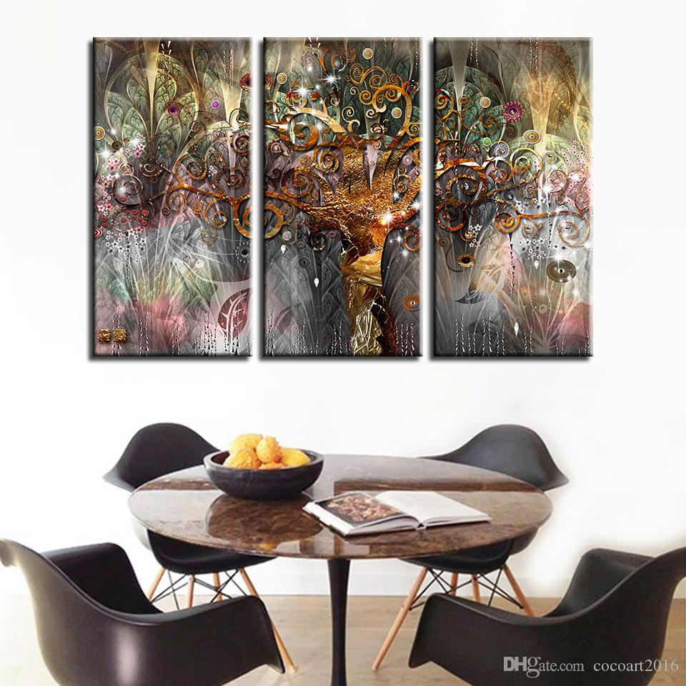 Canvas Prints Poster Bedroom Wall Art Frame 3 Pieces Gustav Klimt Abstract Painting Tree Of Life Pictures Background Home Decor