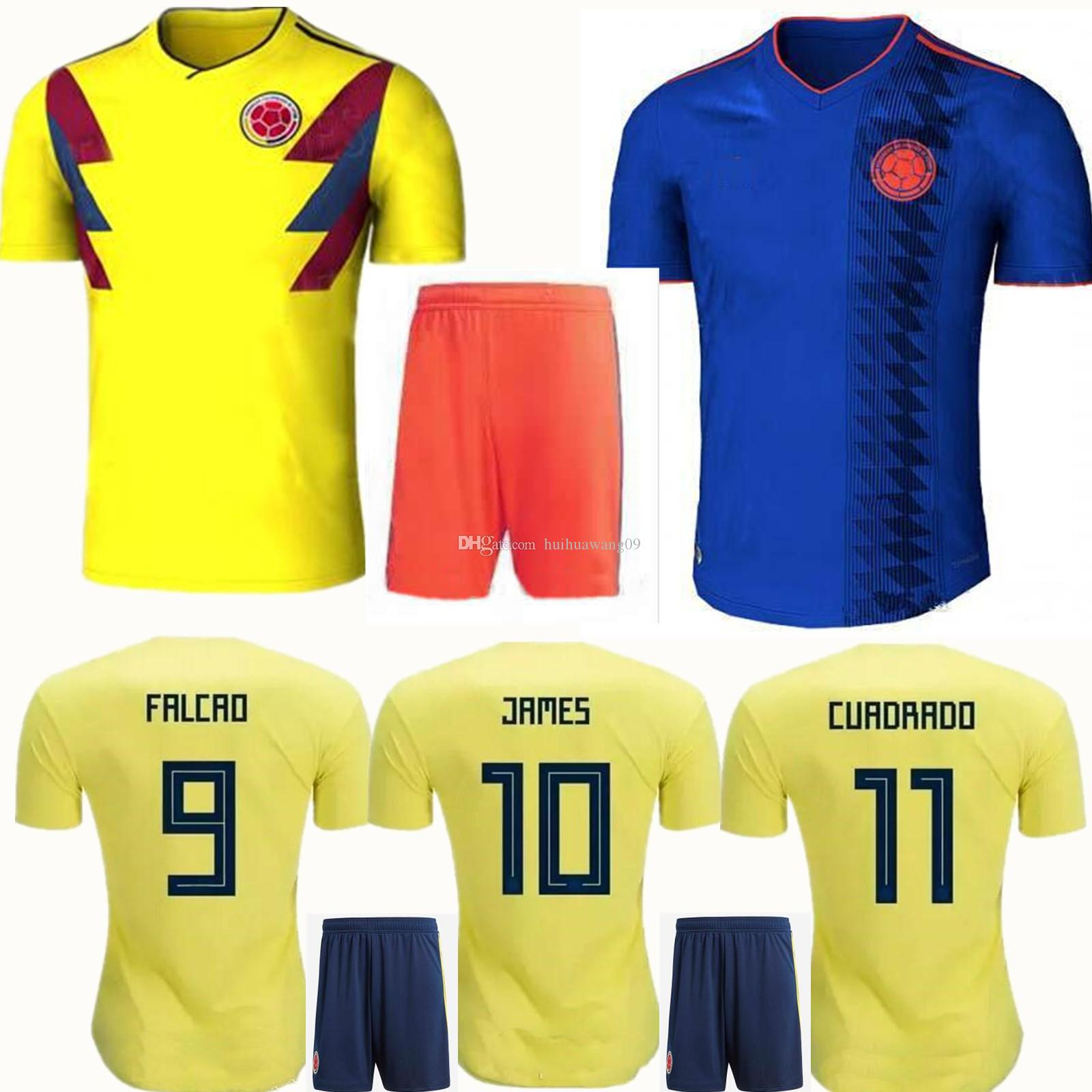 Adults 2018 World Cup Colombia Soccer Sets Rodriguez James Falcao Cuadrado  TEO BACCA SANCHEZ Home Away Kit Colombia Jersey Football Uniform Camisetas  De ...