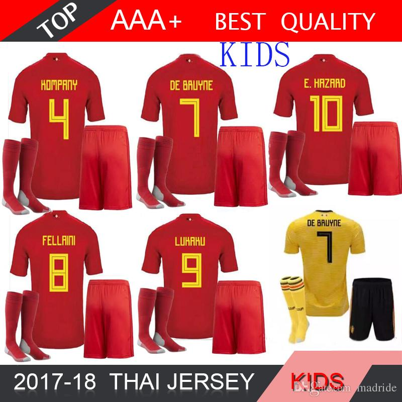 72799529d03 2019 2018 Belgien World Cup Belgium Soccer Jersey Kids Kit Sock 2018  Belgique Home Away Soccer Jerseys HAZARD Child Soccer Jersey From Madride,  ...