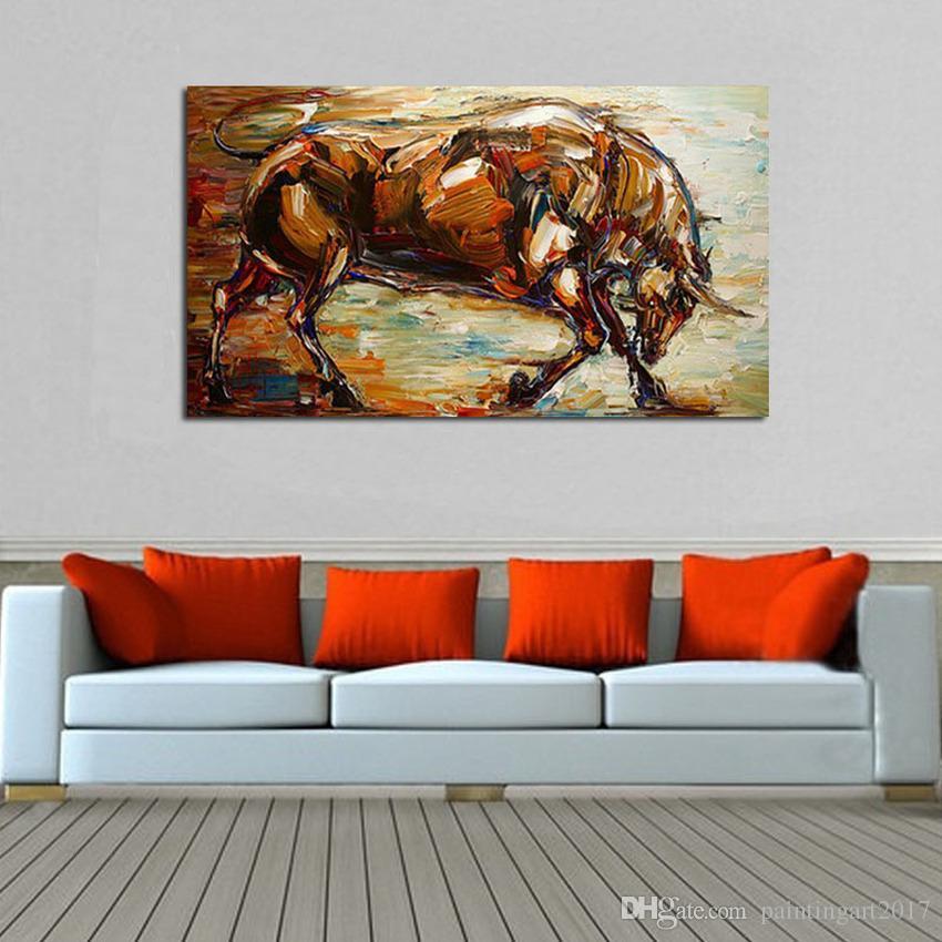 Pintura al óleo abstracta moderna fuerte del toro 100% pintado a mano animal pintura al óleo sobre lienzo arte de la pared imagen decoración para el hogar