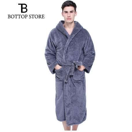 5f766d9171 2019 New Men Coral Fleece Long Bath Robe Man Sleeping Robe Warm ...